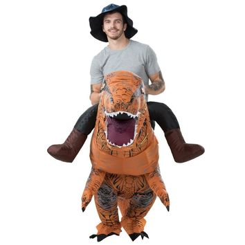 Cool Adult T-REX Inflatable Costume Christmas Cosplay Dinosaur Animal Jumpsuit Halloween Costume for Women Men MASCOT Free ShippingAT_93_12