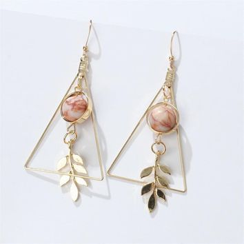STYLEDOME Vintage Hollow Out Triangle Marble Round Beads Leaf Earrings