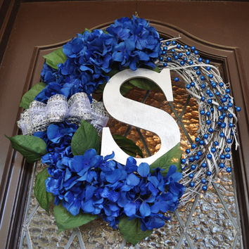 Christmas Wreath, Hanukkah Wreath, Blue Hydrangea, Monogramed, Personalized