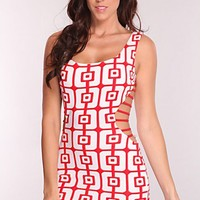 Red White Printed Strappy Sides Sexy Mini Dress