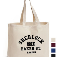 Sherlock holmes 221B baker street Cotton Tote ECO canvas book gift fan art Bag | eBay