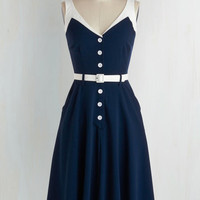 Rockabilly Long Sleeveless A-line Sense of Tasteful Dress in Navy