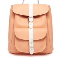 Grafea Exclusive Leather Backpack in Peach with White Contrast Strap