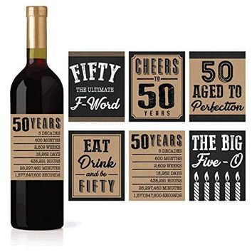 6 50th Birthday Wine or Beer Bottle Labels Stickers Present 1968 Bday Milestone Gifts For Him Man Cheers to 50 Years Fifty Funny Fabulous Unique Party Decorations Supplies For Men Husband Male