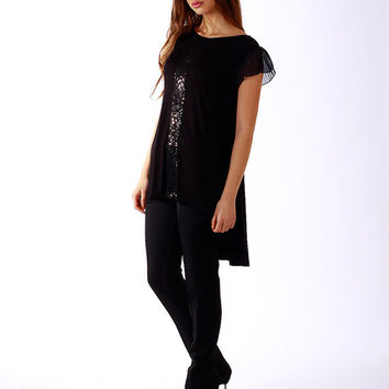 Black tunic / Cotton sequins tunic / Asymmetric tunic / Black cotton top