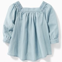 Chambray Square-Neck Top for Toddler Girls|old-navy