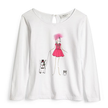 Milly Girl Long-Sleeve Jersey Tee, White, Size 4-7, Size: