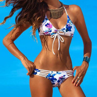 PRINTED HOLLOW OUT BEACH BIKINI-1