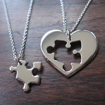 Best Friend Puzzle and Heart Necklace Pendants.