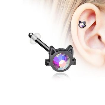 Blackline Adorable Cat Face Iridescent Sparkle Piercing Stud with O-Rings