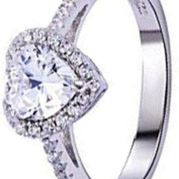 1.3ct Heart Love White Cz 925 Sterling Silver Engagement Wedding Ring