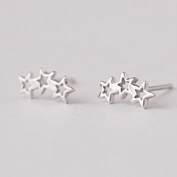 925 sterling silver earrings, smooth three stars stud earrings, pentagonal star earrings