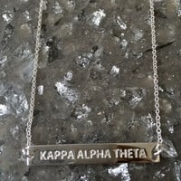 Silver Kappa Alpha Theta Sorority Infinity Bar Necklace - Available in all Sororities!