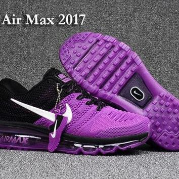 DCCKJG2 Nike Air Max 2017 KPU Purple, Black & White Women's Running Shoes Sneakers