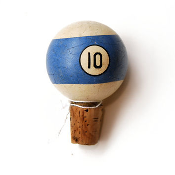 FREE SHIPPING Upcycled Pool Ball Bottle Stopper, Blue No. 10, ET726, Striped