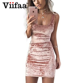 Viifaa Summer Velvet Vest Dress Sexy Women Square Collar Backless Dress Sleeveless Pink Bodycon Casual Dresses