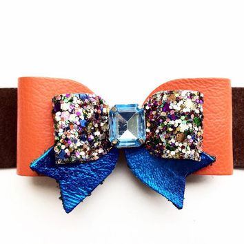 Orange, Brown and Blue Leather Glitter Hair Bow, Girls Leather Hair Clip, Spring Bow, Leather bow with rhinestone, Orange hair clip/headband