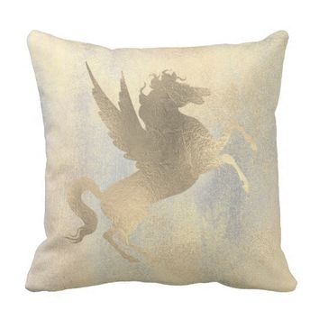 Champaign Sparkly Silver Gold Horse Painting Throw Pillow