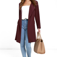 City Sleek Burgundy Trench Coat