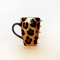 Gold Leopard Coffee Mug - Black Handle - Gold Spikes