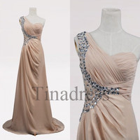 Custom Champagne Crystals Beaded Long Prom Dresses Bridesmaid Dresses 2014 Fashion Party Dresses Evening Gowns Evening Dresses Formal Wear