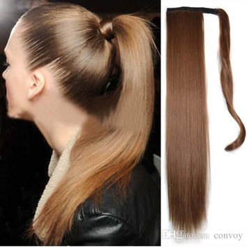 Newest Straight Blonde Fashion Natural High Quality Women Hair Ponytails Lady Long Straight Ponytail 55CM Length 17 colors Hairpiece PT10