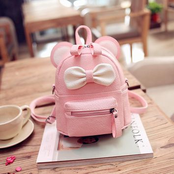 Dante Pink Black Cute Bow Kids Backpack PU Leather School Backpacks Teenage Girl Fashionable Back Packs Women Small Bag Pack