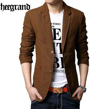 HEE GRAND 2018 Men Full Sleeve Plus Size Single Button Turn-Down Collar Suits Men Casual Blazers MWX392
