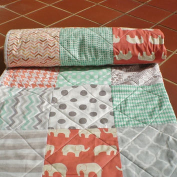 Modern Baby quilt,grey,coral,mint green,peach,crib quilt,woodland,rustic,Birch organic,baby girl bedding,toddler,elephant,chevron Ellie Girl