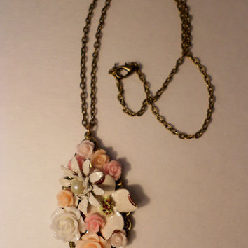 Mother s Day Sale 10% Off Rose Flower Pendant Necklace With Vintage Earrings 0e4a877822