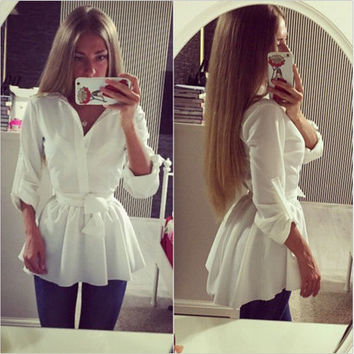 Turn-down Collar Long Sleeves Bowknot Pure Color Blouse
