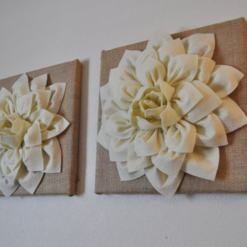 "Two Ivory Dahlia Flowers on Burlap 12 x12"" Canvases"