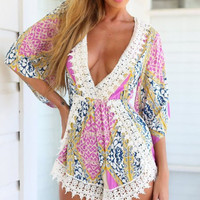 1576342 Printing v-neck sexy horn sleeve jumpsuits