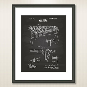 Marimba Music Instrument 1901 Patent Art Illustration - Drawing - Printable INSTANT DOWNLOAD - Get 5 colors background