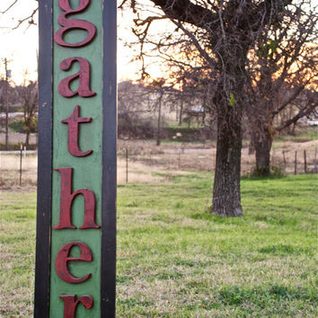 Rustic wood sign farmhouse decor  Gather sign made from reclaimed plywood