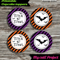"30% OFF Trick or treat - Halloween Cupcake toppers - Instant Download - Party printable - Party favor - Candy Bar - 5 cm / 2"" - Bat"