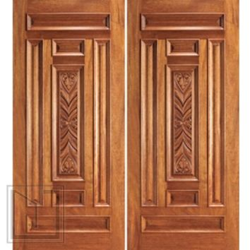 Entry Mahogany Wood Hand Carved 7 Panel Traditional Double Door