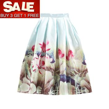 Buy 3 Get 1 Free Casual Floral Printed Tutu Circle Pleated Midi Skirts High Waist Summer Autumn Women Tulle Skirt Saias Faldas