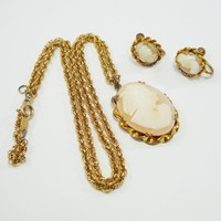 12 KT Gold Filled & Carved Shell Cameo Earrings and Pendant Necklace, Screw Backs, Vintage 1940s Art Deco Era Jewelry, As is, Reuse, Recycle