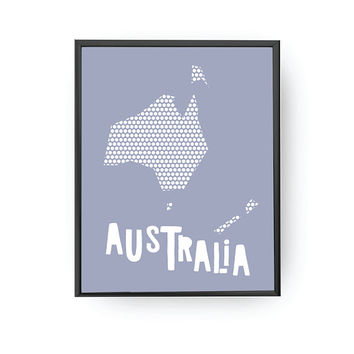 Australia Blue Map, Kids Decoration, Learning Map, Classroom Decor, Nursery Art, Australia Poster, Educational Wall Art, Typography Poster