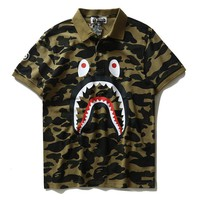 2017 new men's shark camouflage T-shirts, men's and women's Lapel cotton short sleeves
