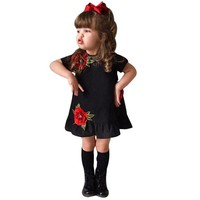 Baby Girls clothing Kids Princess Dresses Floral Rose Party Dress Children Clothing Summer Black Dress Toddler bebe clothes 1-5y