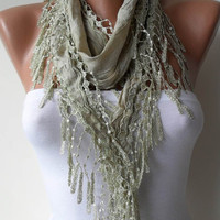 Light Green Scarf with Trim Edge - For Summer