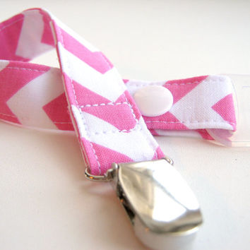 Chevron Pacifier Clip - Pink and White Chevron Paci Clip with Optional Silicone Adapter Ring