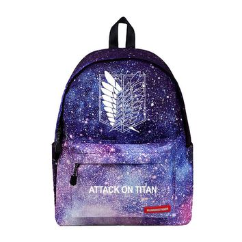 Cool Attack on Titan WISHOT  Mikasa Eren Cartoon Backpack School Bags Travel Bag for teenagers girls Stars Universe Space Galaxy AT_90_11