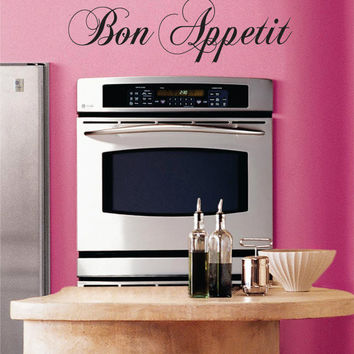 Bon Appetit Kitchen Quote Decal Sticker Wall Vinyl Decor Art