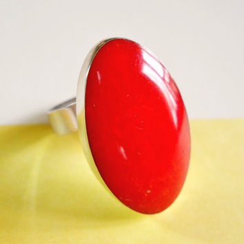 Vintage Coral Ring Red Sterling Silver Oval sz 8