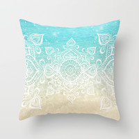 Beach Mandala Throw Pillow by Jenndalyn
