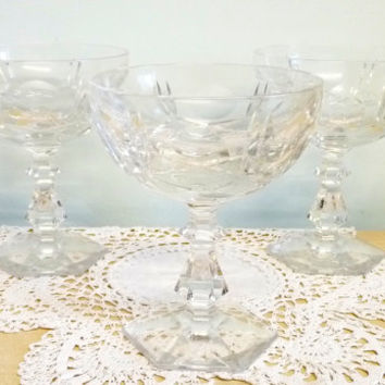 RCR Italian Glass Bowls or Dishes x 3, 24% Lead Crystal, Grapefruit, Dessert, Sherbet, Sorbet, Ice Cream, Starter Dishes