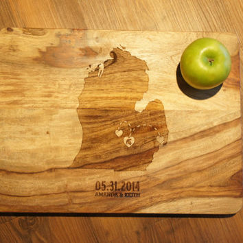 LARGE(12x16) - Custom Engraved ONE State Love Cutting Board Personalized heart in state names & date  engagement anniversary or wedding gift